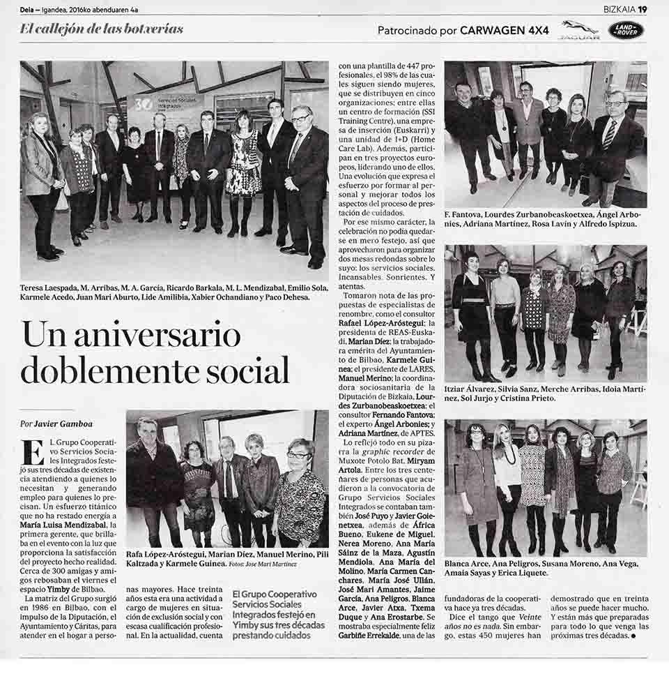 """Un aniversario doblemente social"", Periódico Deia"