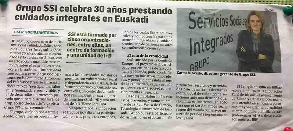 """""""GRUPO SSI celebra 30 años prestando cuidados integrales en Euskadi"""", Estrategia Empresarial"""