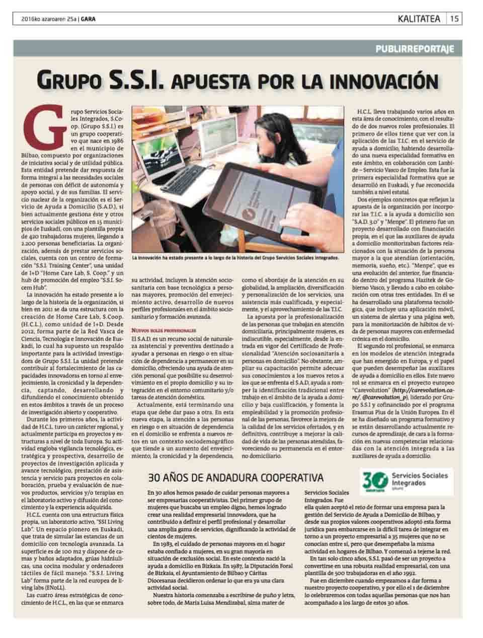 """""""Grupo SSI apuesta por la innovación. 30 años de andadura cooperativa"""", Periódico Gara"""