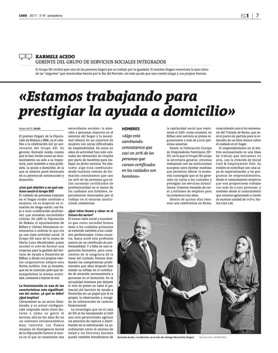 """Prestigiar SAD: """"Trabajamos para prestigiar la ayuda a domicilio"""", periódico GARA"""