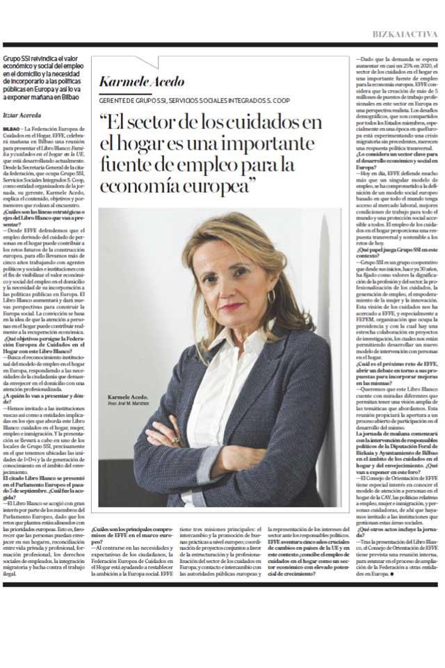 """""""Cuidados hogar, fuente importante de economía en Europa"""" - 24/09/2017"""