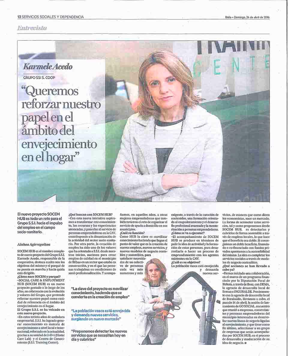 """SOCEM hub empleo: """"Queremos reforzar nuestro papel en el ámbito del envejecimiento en el hogar"""", Periódico Deia"""