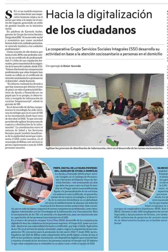 Noticias: Digitalización de los cuidados, Deia, 29/04/2017