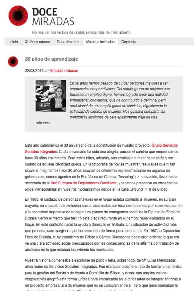 30 años de historia, en el blog de Doce Miradas, Marzo 2016