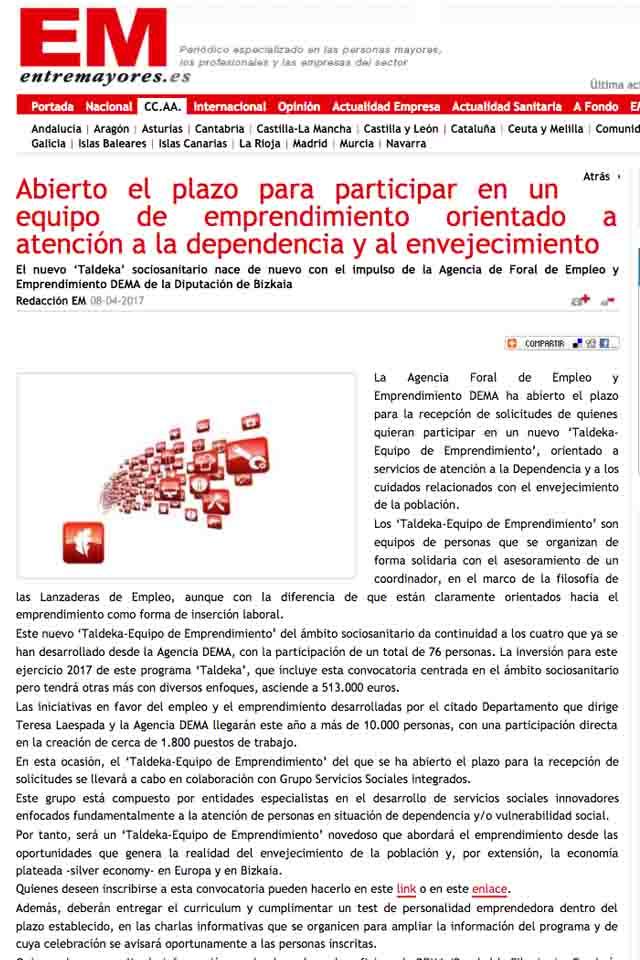 Abierto el plazo para participar en programa emprendimiento sociosanitario, Entremayores, 18/04/2017