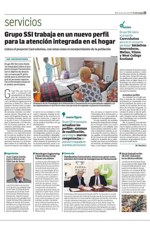 Grupo SSI trabaja en un nuevo perfil para la atención integrada en el hogar, Estrategia Empresarial, Marzo 2016
