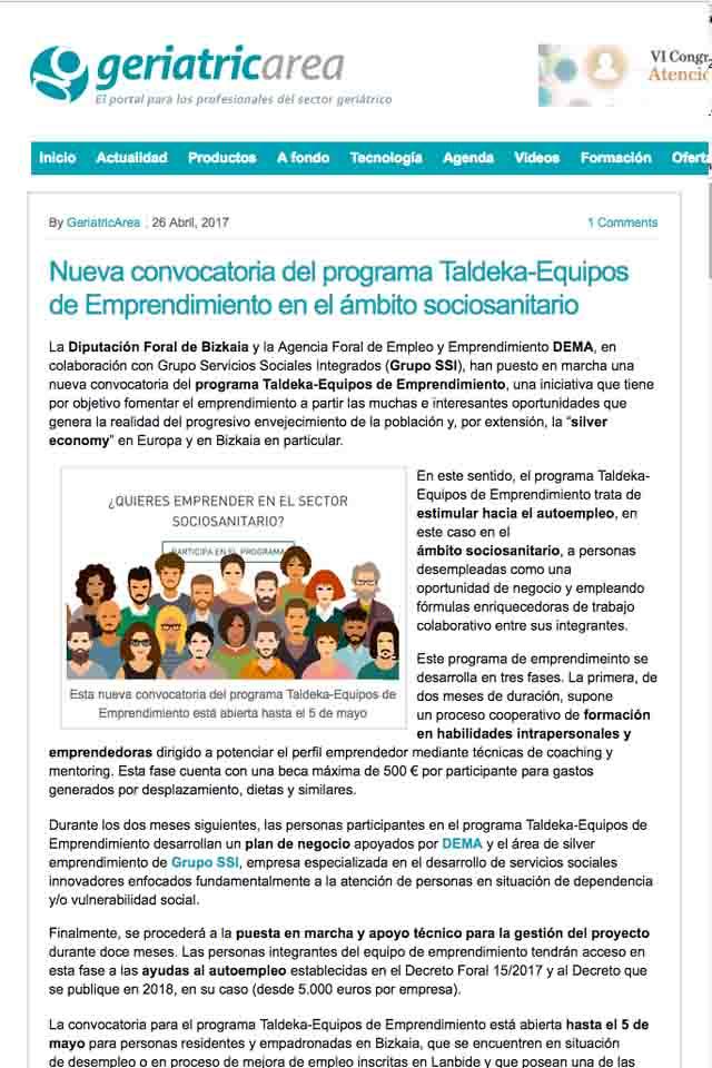 Taldeka - equipos de emprendimiento, Geriatricarea, 26/04/2017