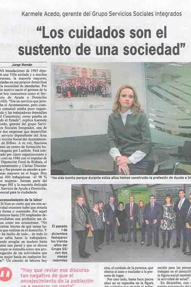Los cuidados son el sustento de la sociedad. Periódico Bilbao, 4/12/2016