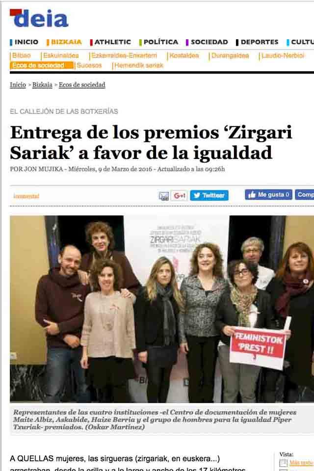 Entrega de los premios Zirgari Sariak. DEIA, 9/3/2017