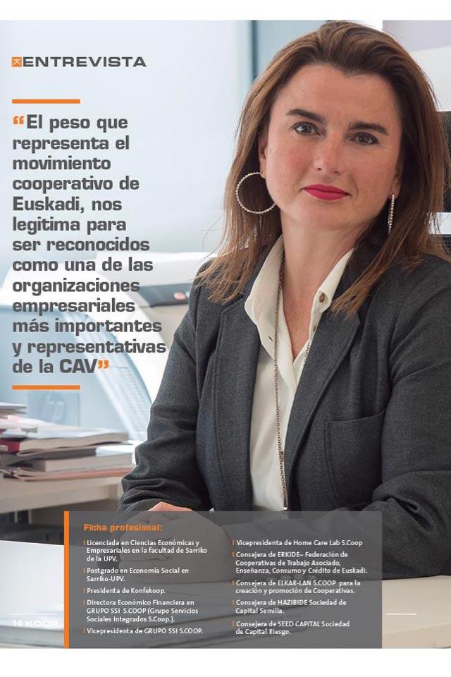 Entrevista a Rosa Lavín, el peso de las cooperativas en Euskadi. Revista Erkide. Octubre 2017