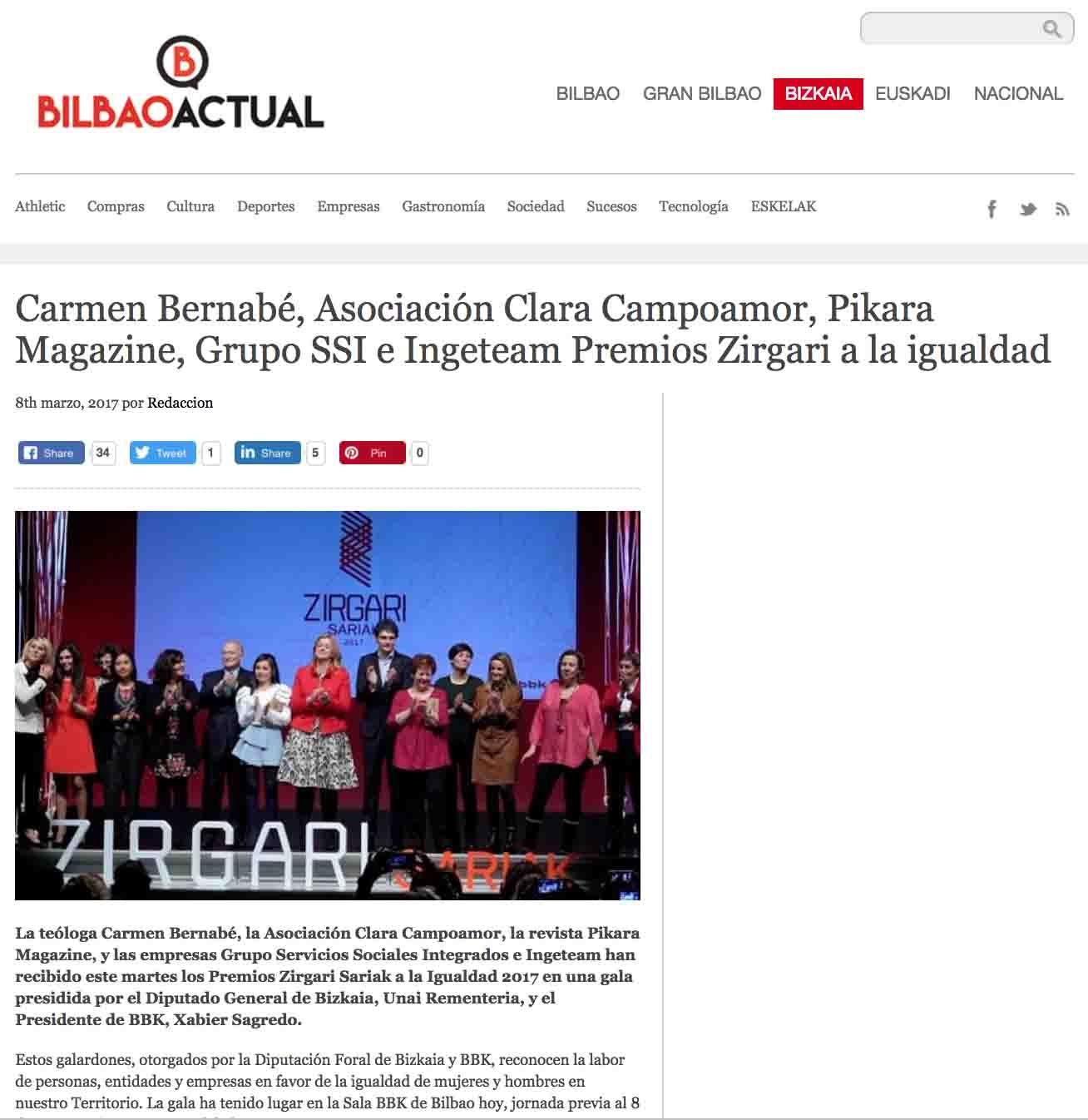 """""""Premios Zirgari Sariak 2017"""", Periódico Bilbao Actual"""
