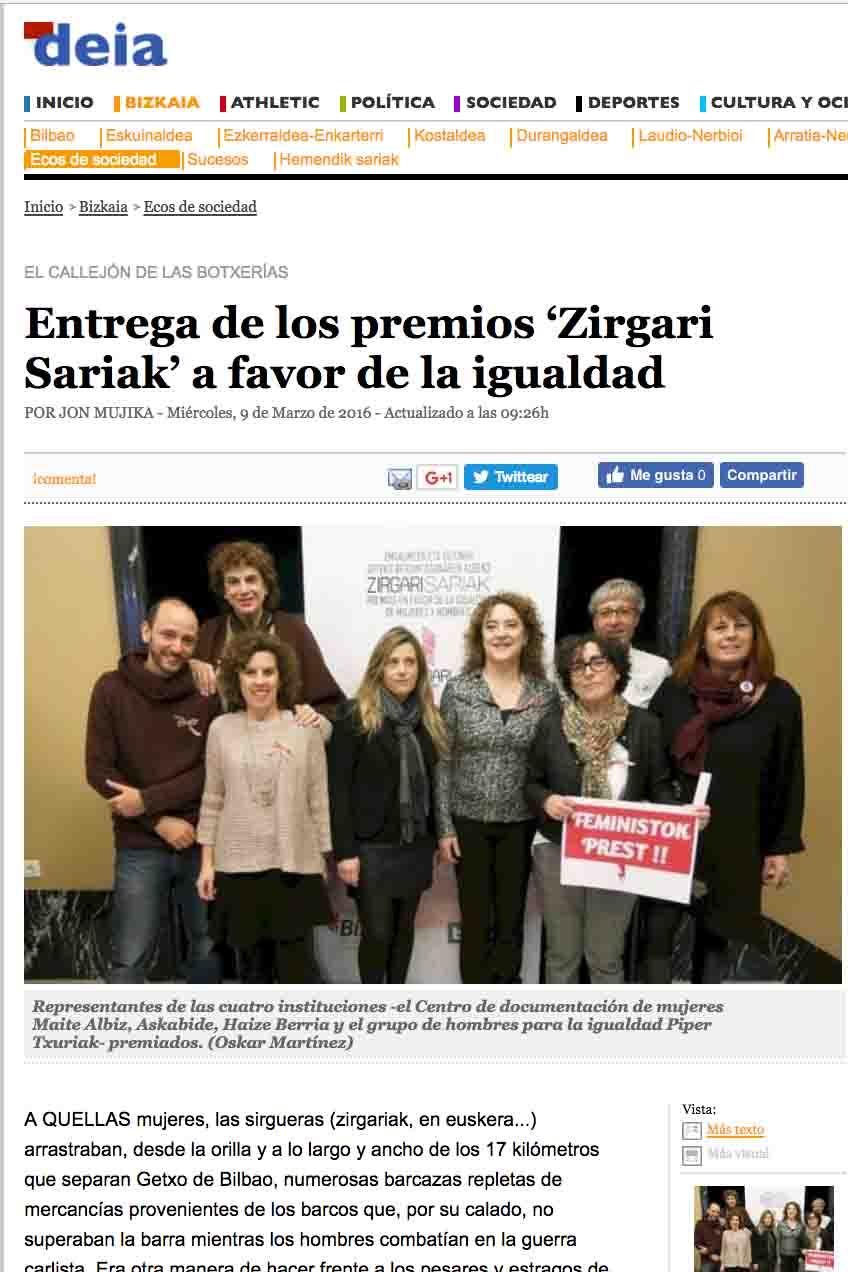 """""""Entrega de los premios Zirgari Sariak a favor de la igualdad"""", Periódico Deia"""