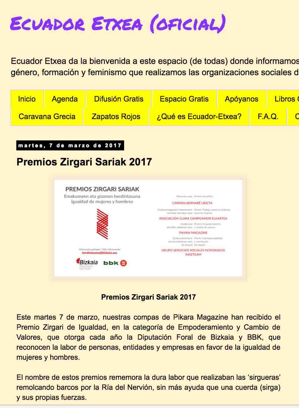"""""""Premios Zirgari Sariak"""", Ecuador Etxea"""