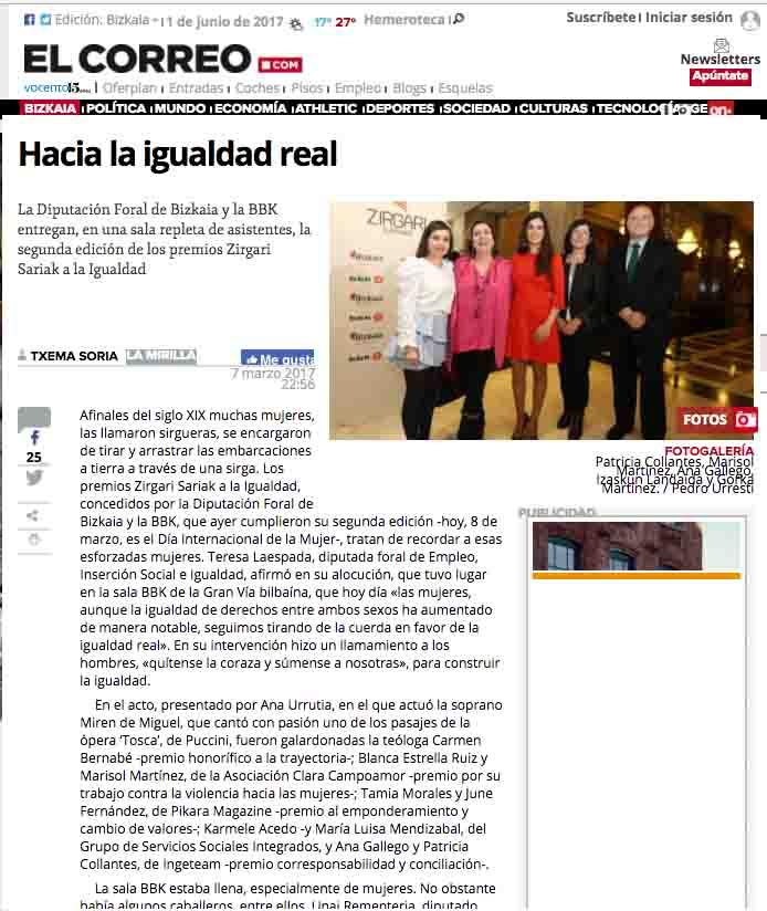 """""""Hacia la igualdad real"""", El Correo"""