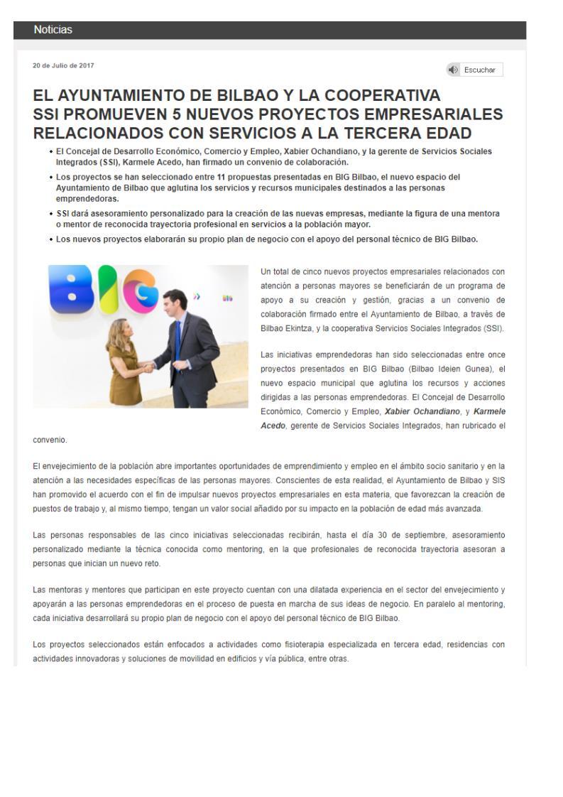 convenio de colaboración con Ayuntamiento Bilbao