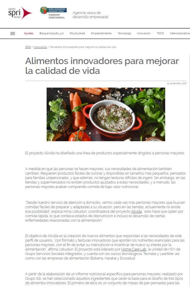 Proyecto Alivida - en Grupo SPRI