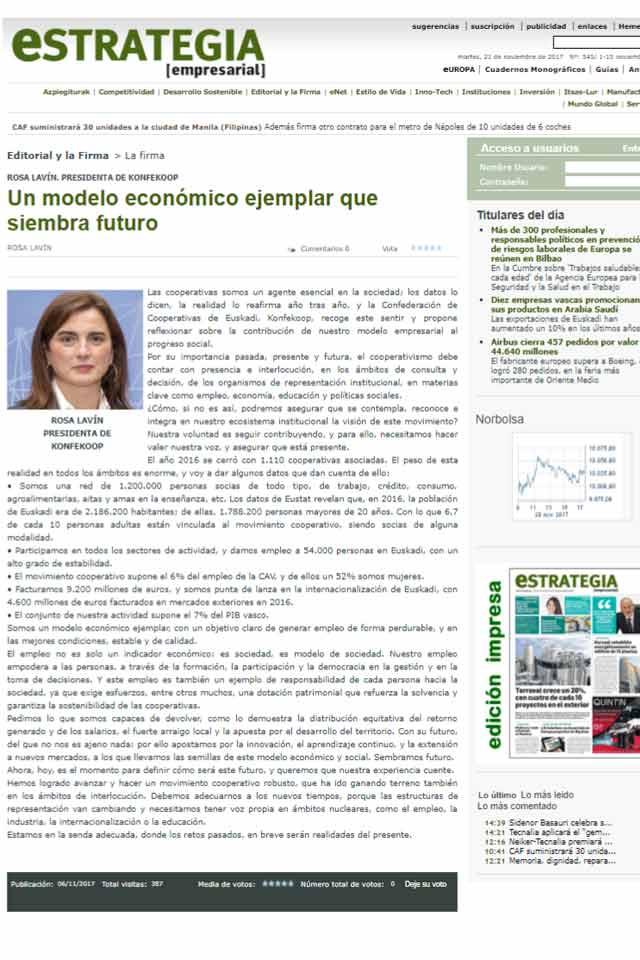 Rosa Lavín, firma destacada en Estrategia Empresarial. Noviembre 2017