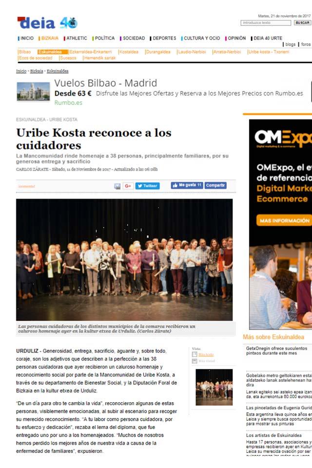 """""""Zainduz Uribe Kosta reconoce la labor de las personas cuidadoras"""" - Deia, 11/11/2017"""