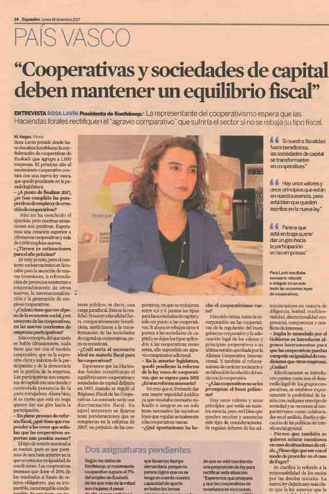 Rosa Lavín, entrevista en Expansión. Diciembre 2017