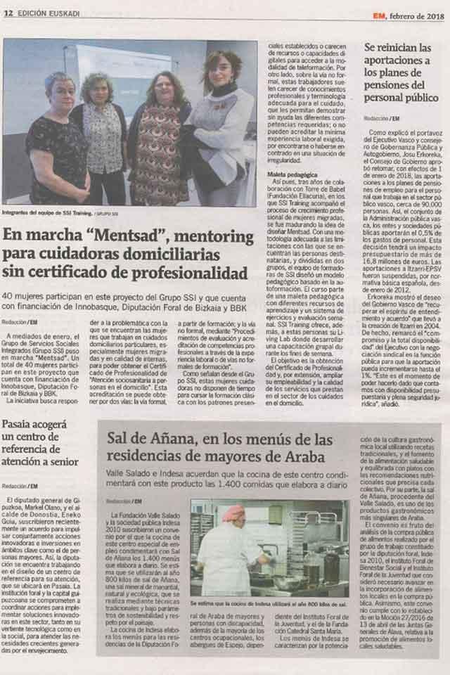 Proyecto MENTSAD, Entremayores. Febrero 2018