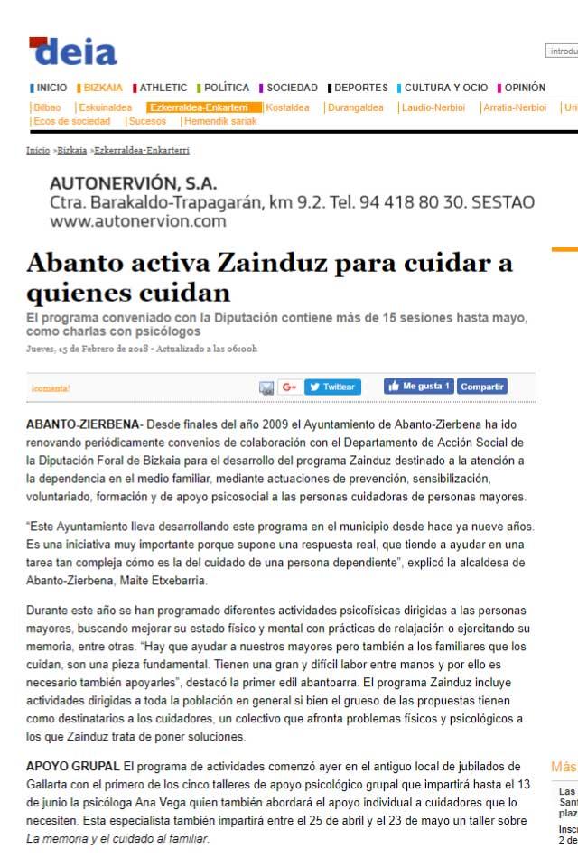 Programa Zainduz 2018 en Abanto Zierbena, Deia. Febrero 2018