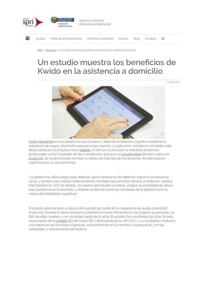 Proyecto Mementia, beneficios Kwido, Grupo SPRI. Marzo 2018