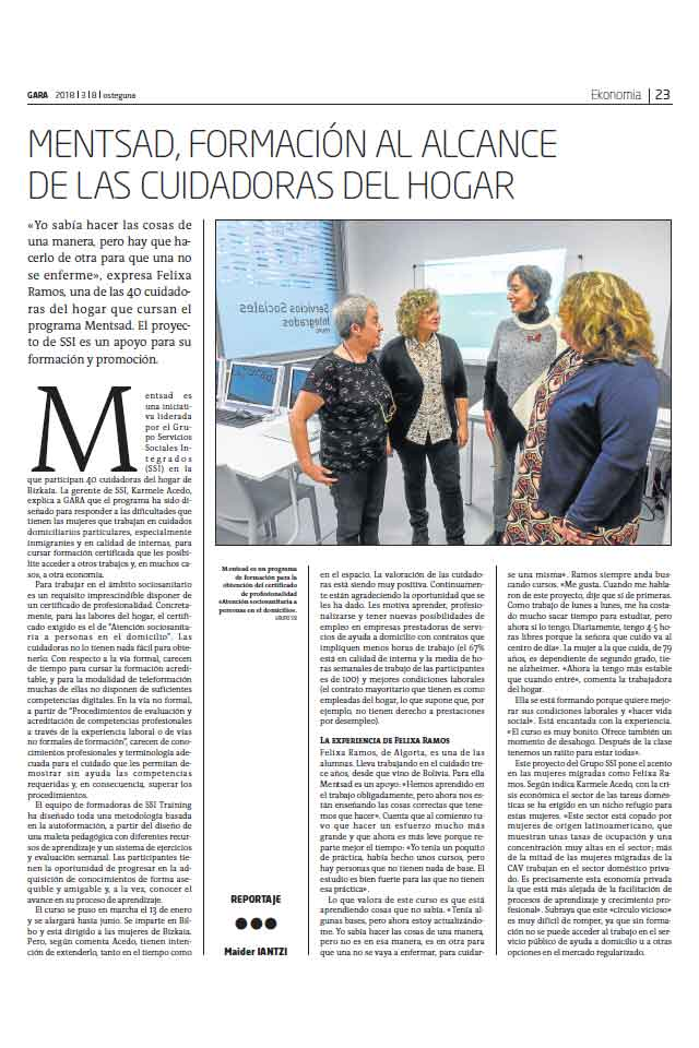 Proyecto MENTSAD, Gara. 8 Marzo 2018
