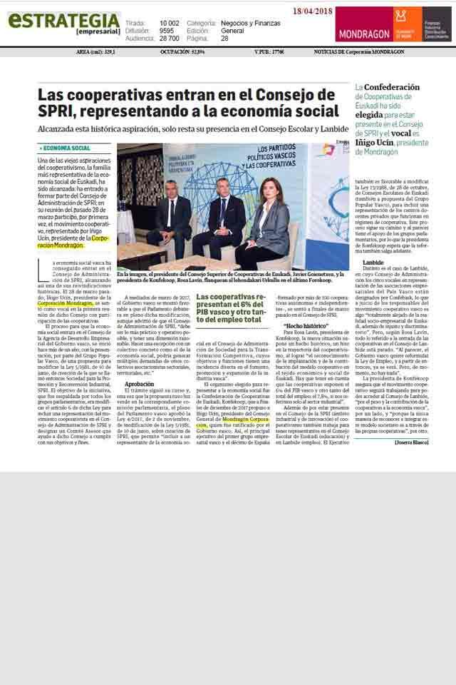 Cooperativas en consejo SPRI, Estrategia Empresarial. 18 Abril 2018
