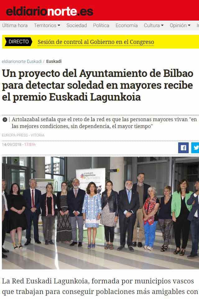 Premio BBPP Mirada Activa, El Diario. 14 Septiembre 2018