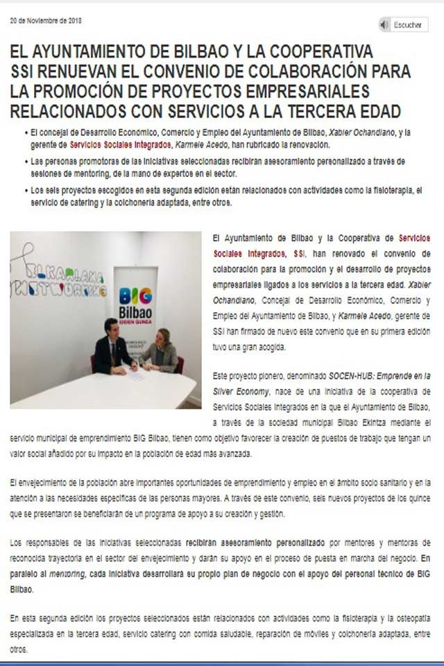 Renovación del convenio de colaboración con el ayuntamiento de Bilbao. 20 Noviembre 2018