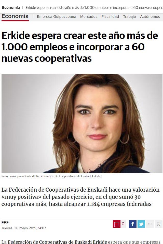 Rosa Lavín, nueva presidenta de ERKIDE. 28 Mayo 2019