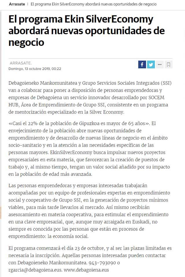 EkinSilverEconomy aborda nuevas oportunidades de negocio . Diario Vasco. Octubre 2019