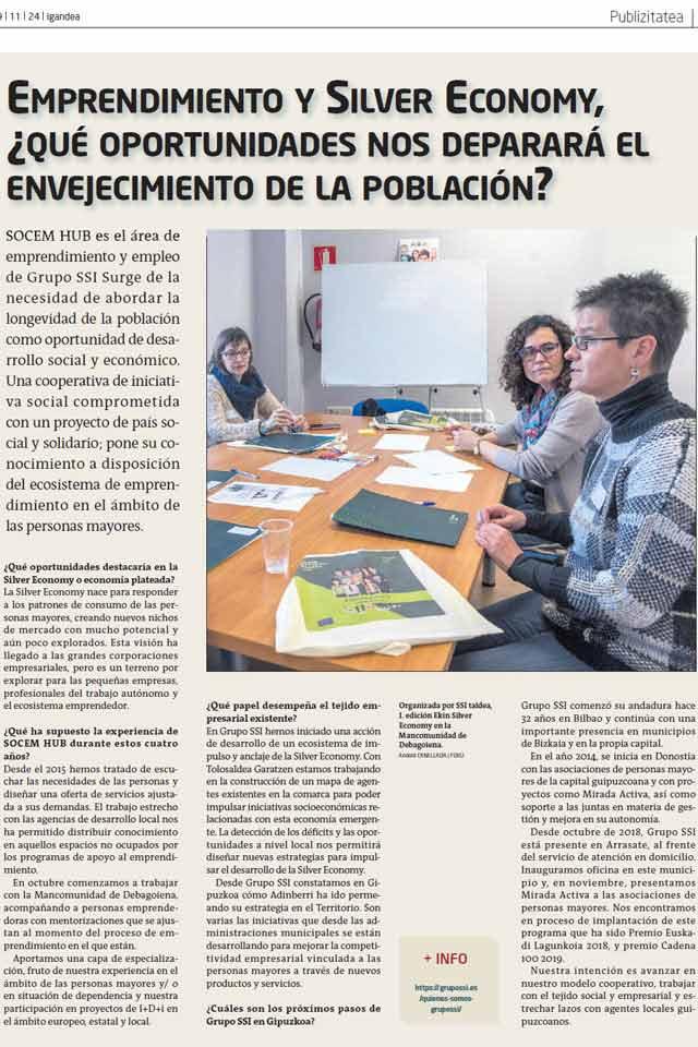Entrevista equipo de Emprendimiento y Empleo Silver Economy de Grupo SSI. GARA. Noviembre 2019
