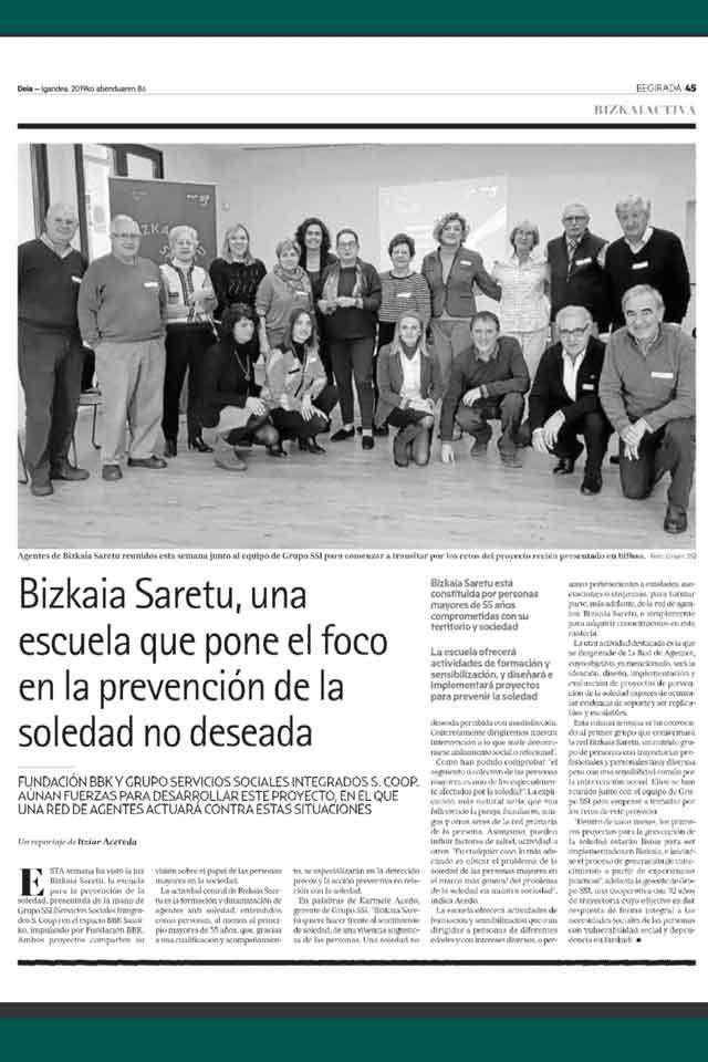 Bizkaia Saretu, escuela de prevención de la soledad no deseada. Deia. Diciembre 2019