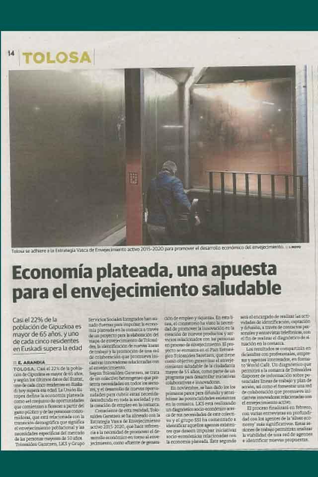 Tolosaldea apuesta por la economía plateada. Diario Vasco. Diciembre 2019
